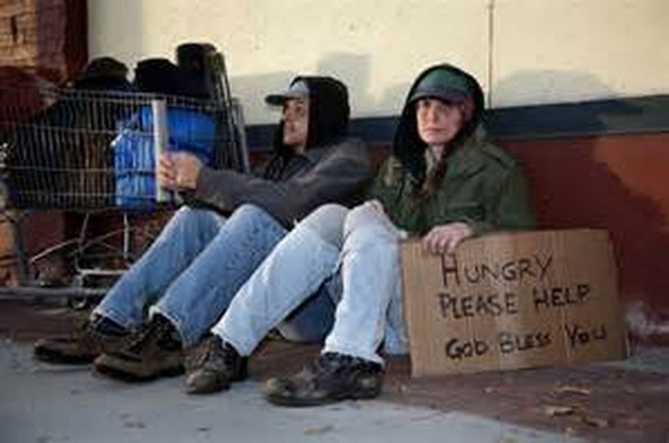 People sleeping on the street in the USA, tragedy